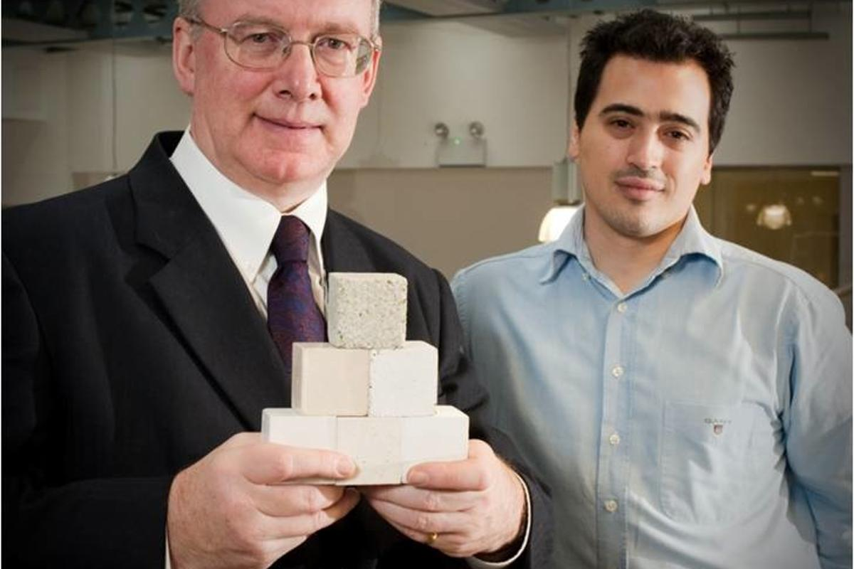 Novacem Chairman Stuart Evans and Chief Scientist Nikolaos Vlasopoulous, with samples of their CO2-absorbing concrete