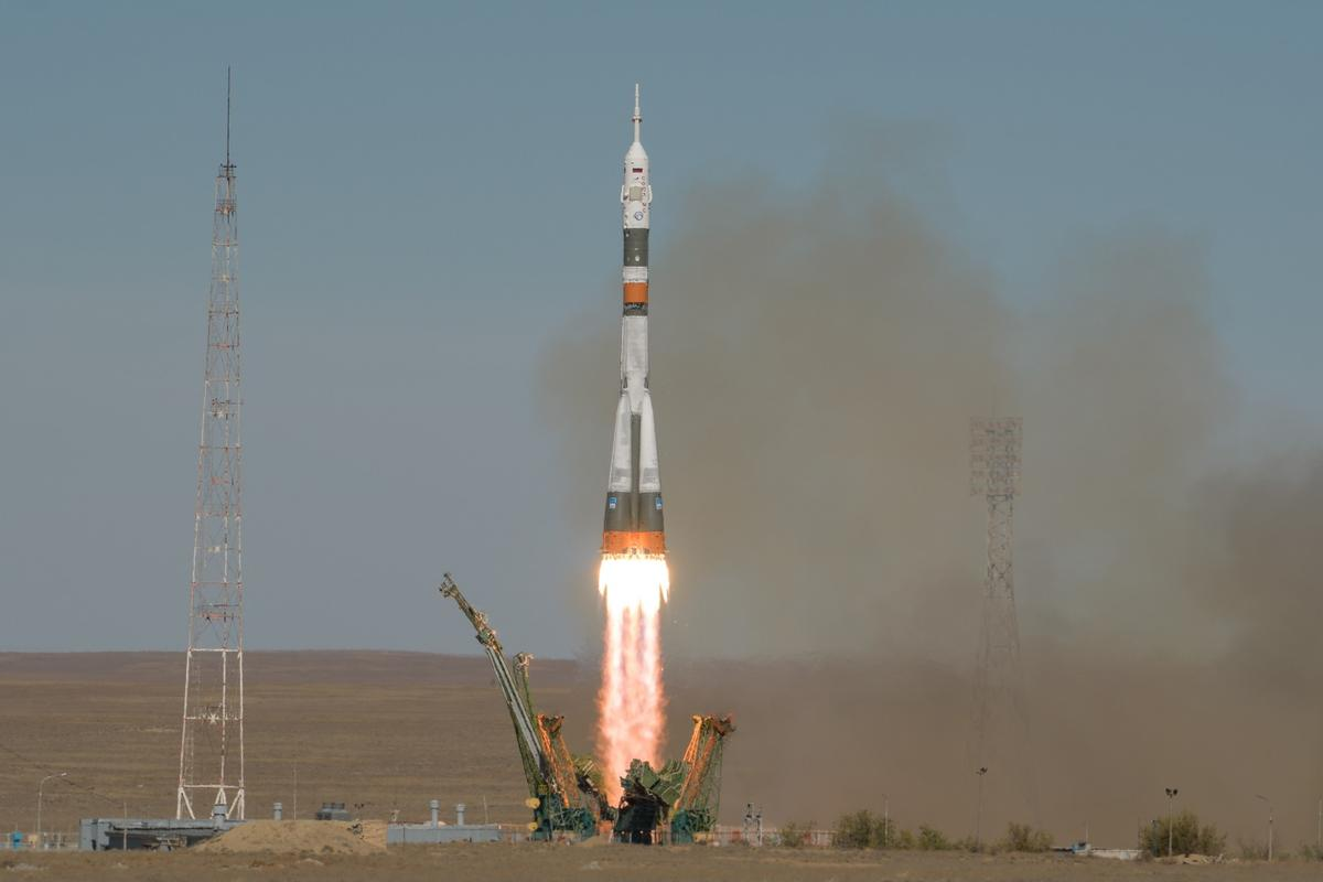 The Expedition 57 Soyuz rocket seen launching today from Baikonur Cosmodrome