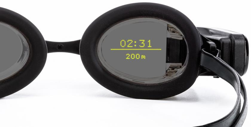 Form Swim Goggles track metrics such as split time, interval time, rest time, total time, stroke rate, stroke count, distance per stroke, pace per 100, pace per 50, distance, length count, and calories burned