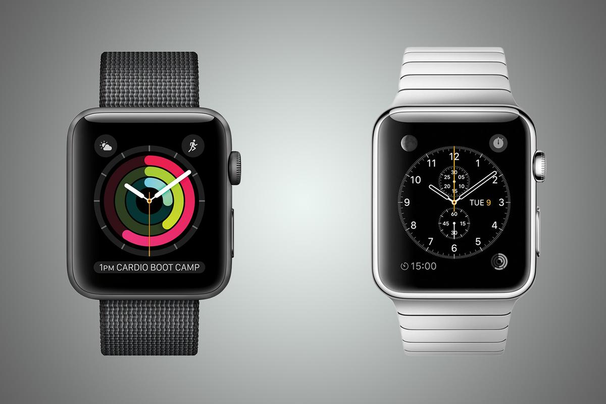 New Atlas compares the little-changed Apple Watch Series 2 (left) with its 2015 predecessor