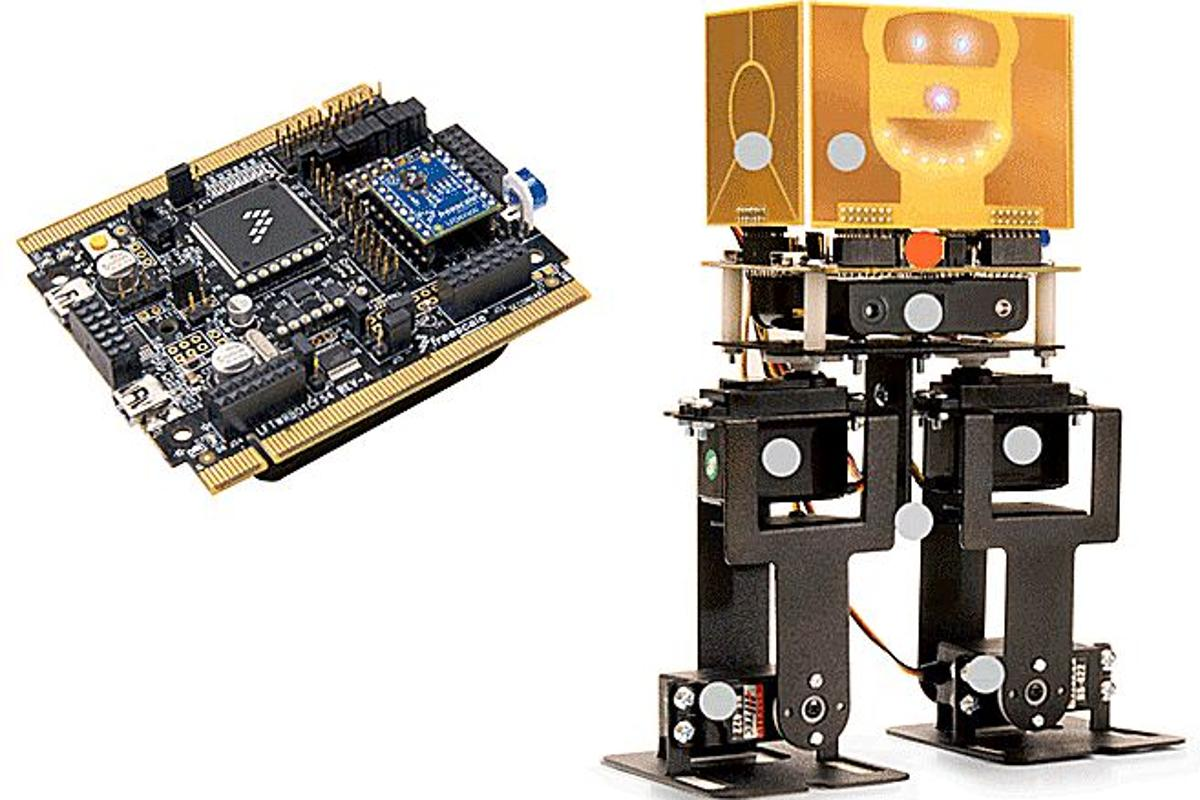 The Freestyle Semiconductor Mechatronics Robot with its 32-bit RISC microprocessor board (Photo: Freestyle Semiconductor)