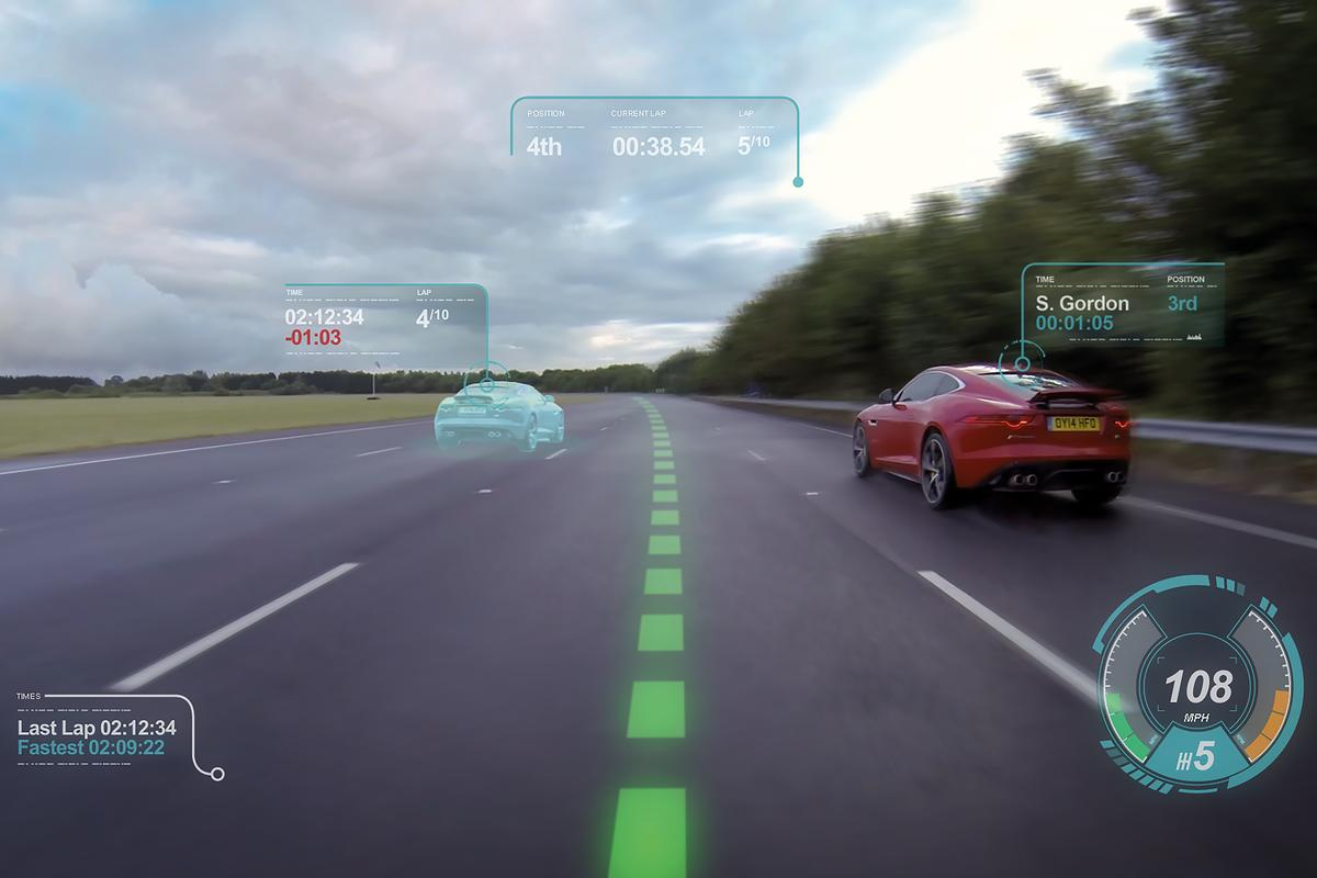"The ""Virtual Windscreen"" is also able to display a racing line for trackday warriors"