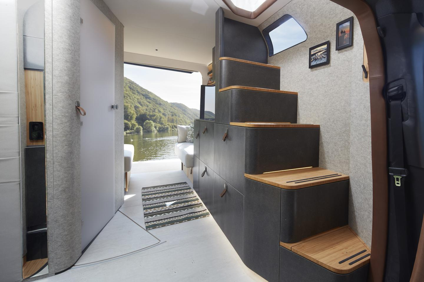 A favorite feature of the Hymer VisionVenture: a staircase leads to the pop-up roof, rather than a simple ladder