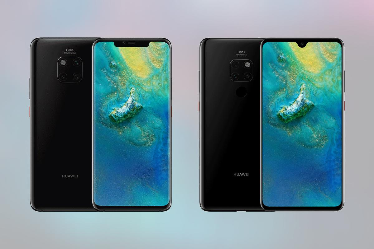 The Huawei Mate 20 Pro (left) and Huawei Mate 20 (right)