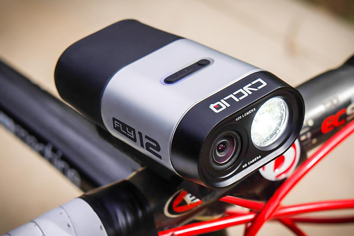 The Fly12 is both a 1080p/30fps HD camera and a 400-lumen headlight for bicycles