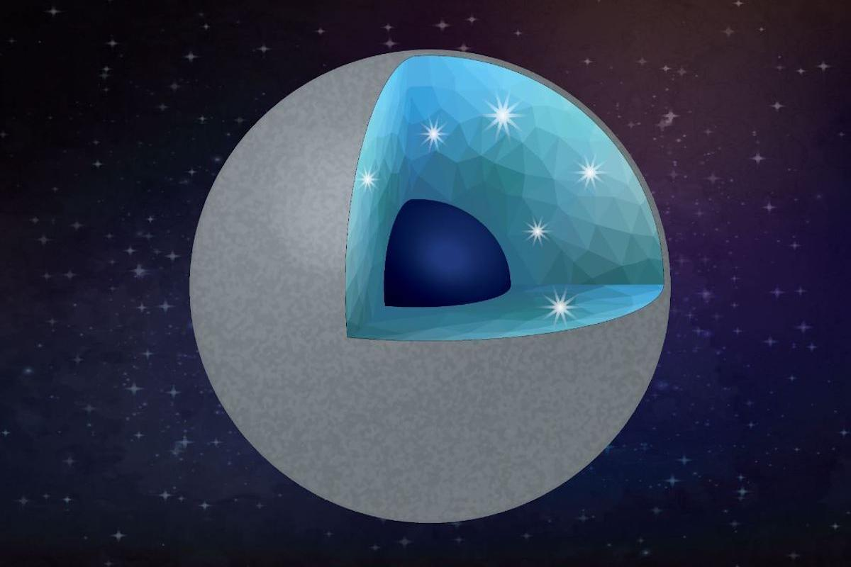 A cutaway rendering of a hypothetical diamond-rich planet