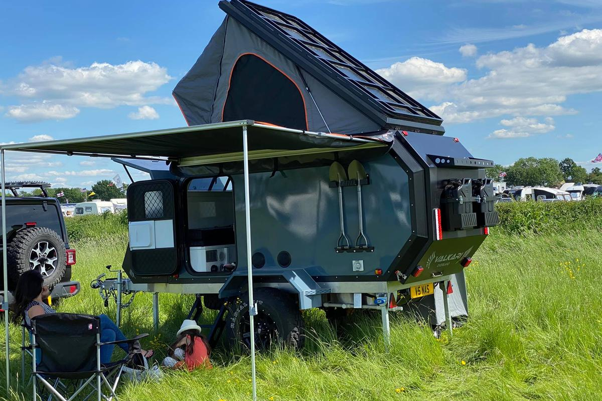 With its pop-up roof, awning and tailgate galley, the Valkari X1 expands into a comfortable two- to five-person base camp