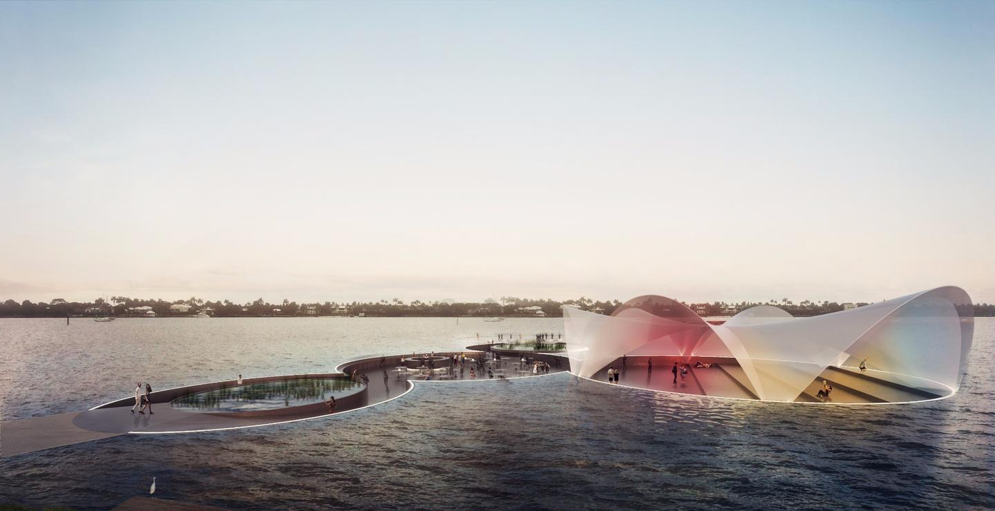 The Currie Park floating plaza will be mounted on a system of responsive air chambers that will take in and expel air based on the number of people walking on the platform