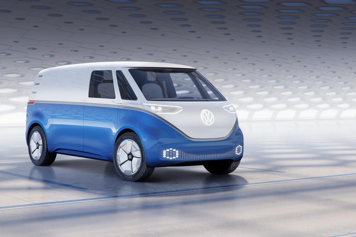 The I.D. Buzz Cargo concept takes the commercial van five years into the future, with level 4 autonomy and all sorts of intelligent work aids