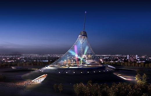 Kazakhstan's Khan Shatyry Entertainment Center, due for completion in 2008, a magnificent ETFE spire as its centrepiece.