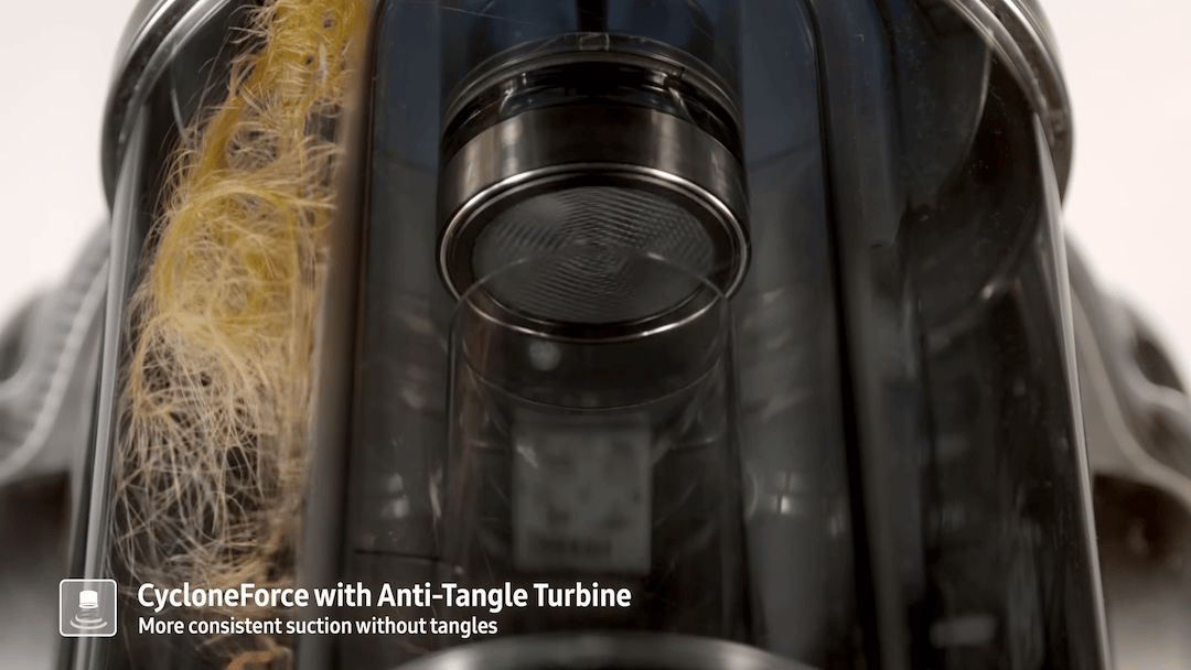 Samsung has developed a new turbine for its vacuum cleaners, which keeps hair from tangling around the grille