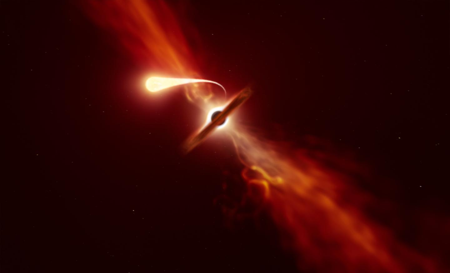 """An illustration of a star being stretched into """"spaghetti"""" by a black hole"""
