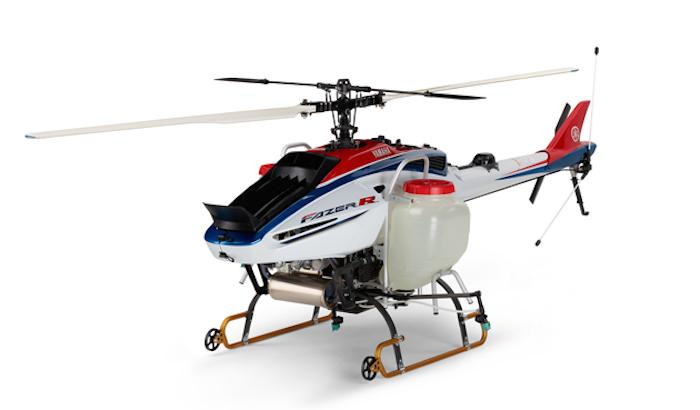The 8.5 gallon tank ofYamaha's new crop-spraying UAV, theFazer R, is reported sufficient for up to10 acres of coverage