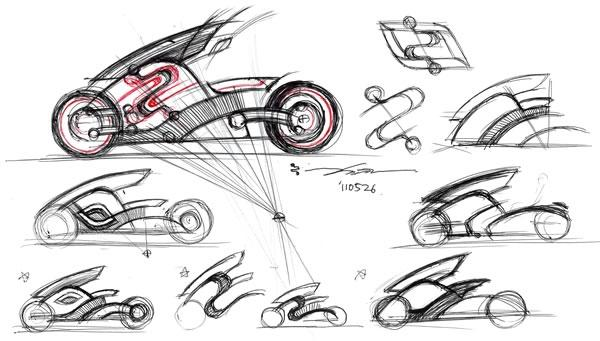 zecOO electric motorcycle sketches