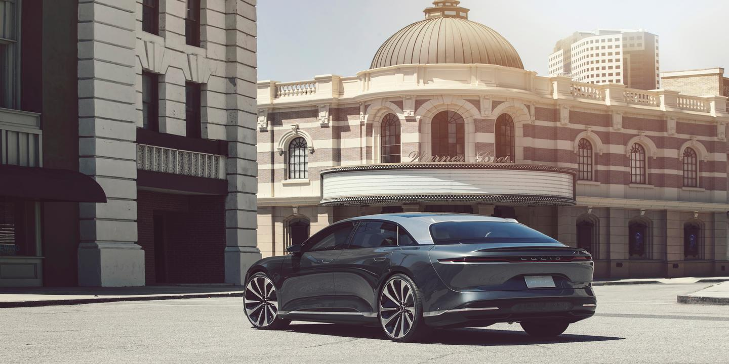 Lucid Air prototype; the production Air will be revealed in September