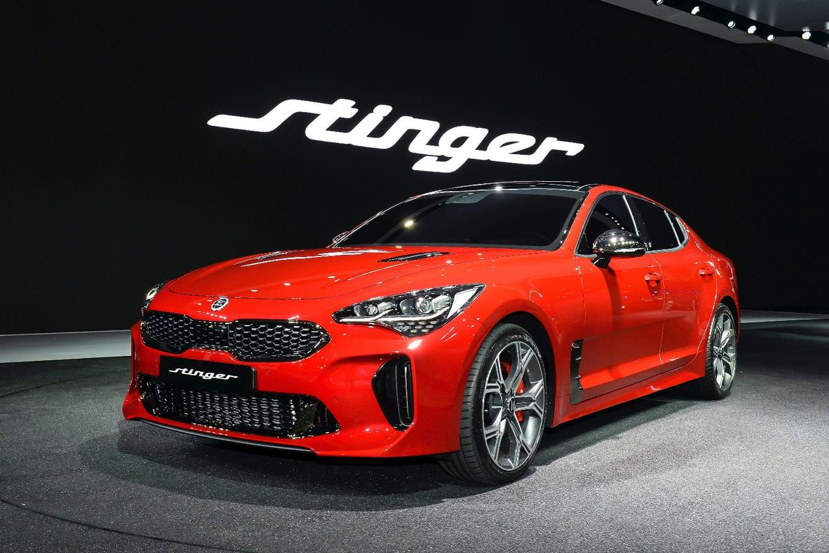 The Kia Stinger is one of the focal points of Kia's Seoul Motor Show booth