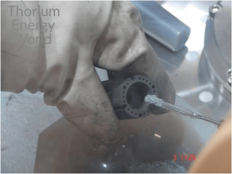 Ultra pure thorium salt is carefully put inside the special designed crucible