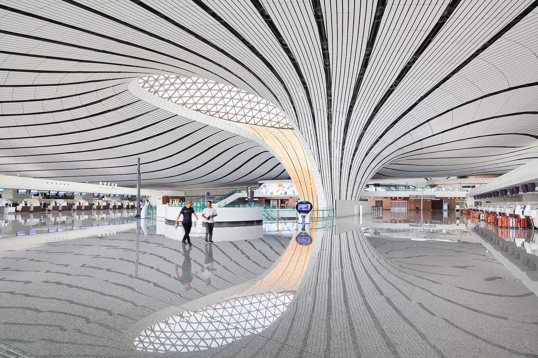 Inside the Beijing Daxing International airport by ZHA (2019)