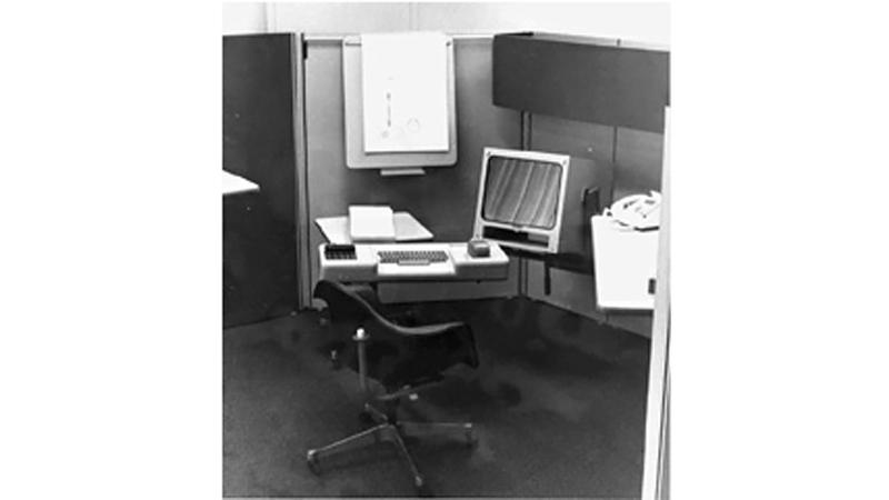 The NLS shown in its Herman Miller designed office environment (Image: SRI International)