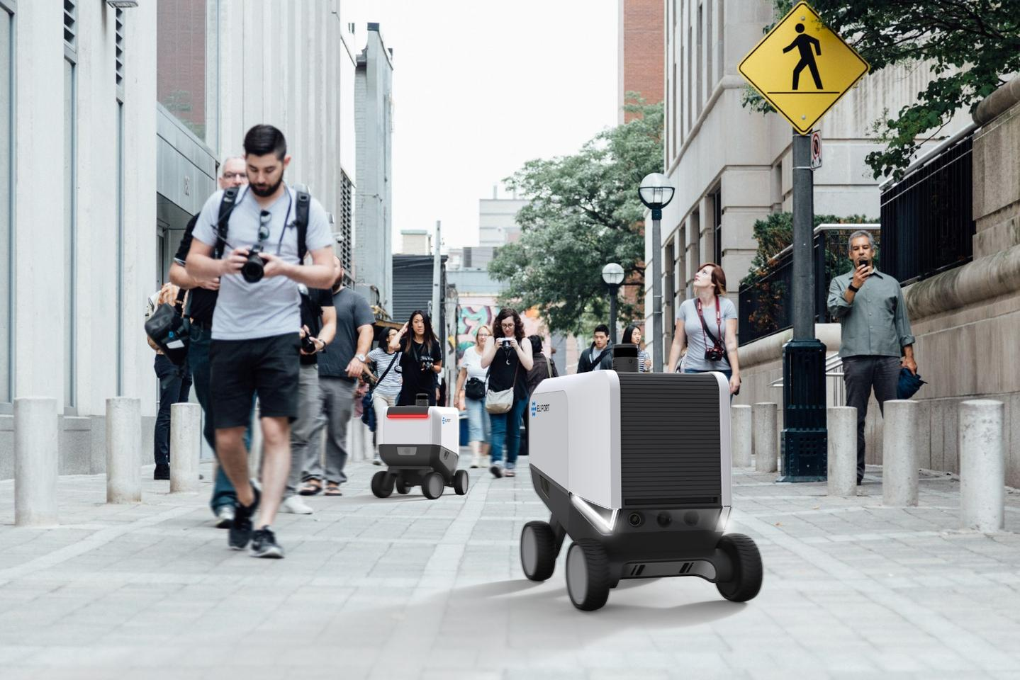 Plans call for Eliport robots to travel on sidewalks, amongst pedestrians