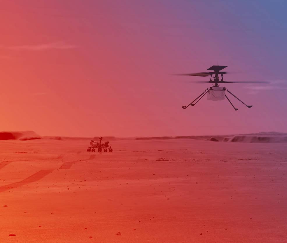 Artist's rending of Ingenuity on Mars