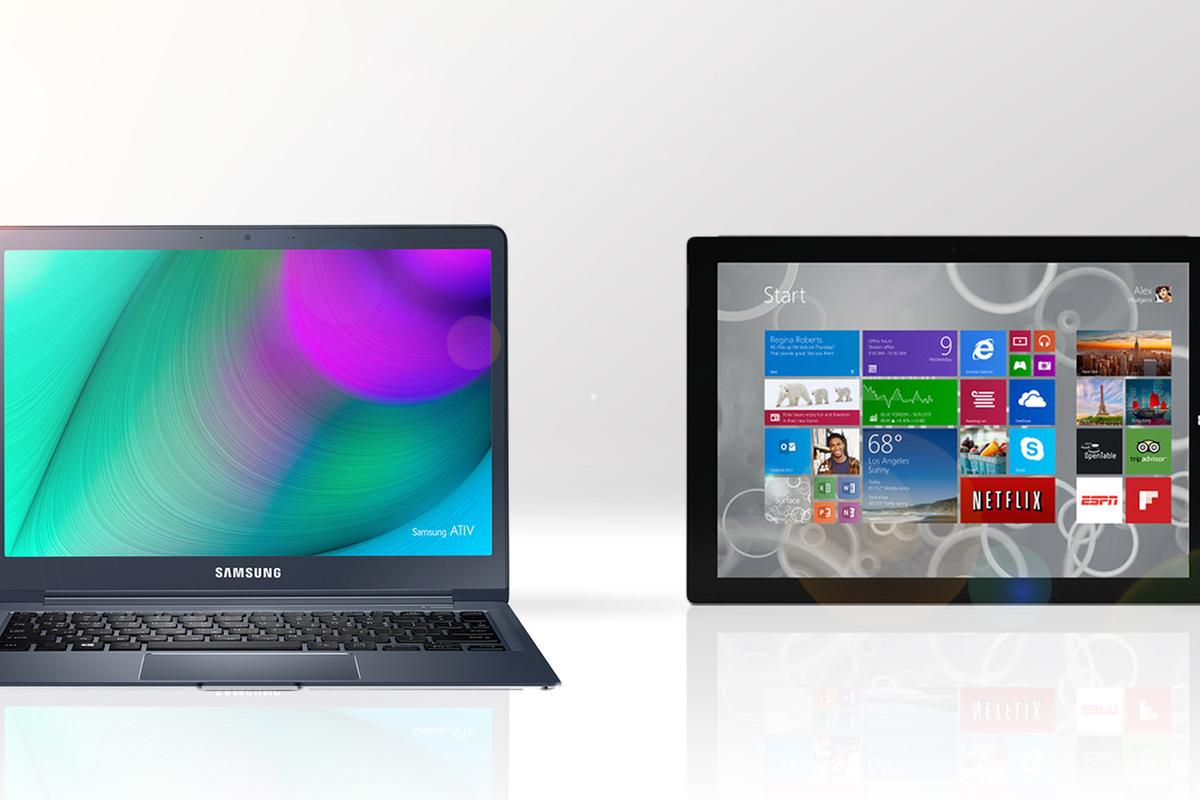 Gizmag compares the features and specs of the 2015 Samsung Ativ Book 9 (left) and Microsoft Surface Pro 3