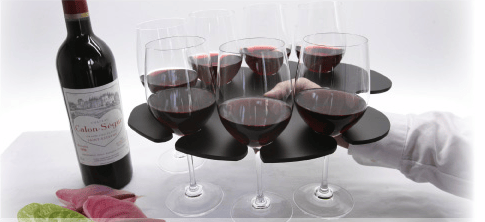 The Stem Glass Tray holds eight wine glasses in balanced formation and has a hole for your thumb
