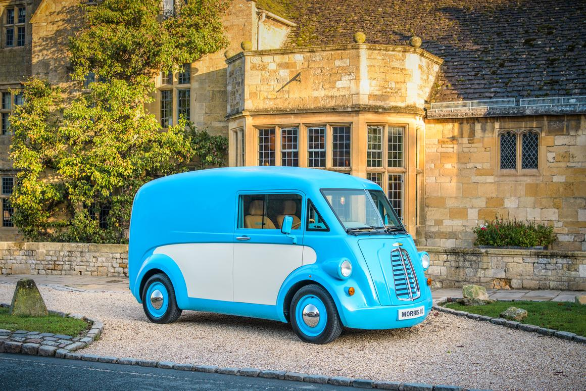 Two-tone paint, a split windshield and hoodless body ... Morris beats Volkswagen to the electric classic van revival punch
