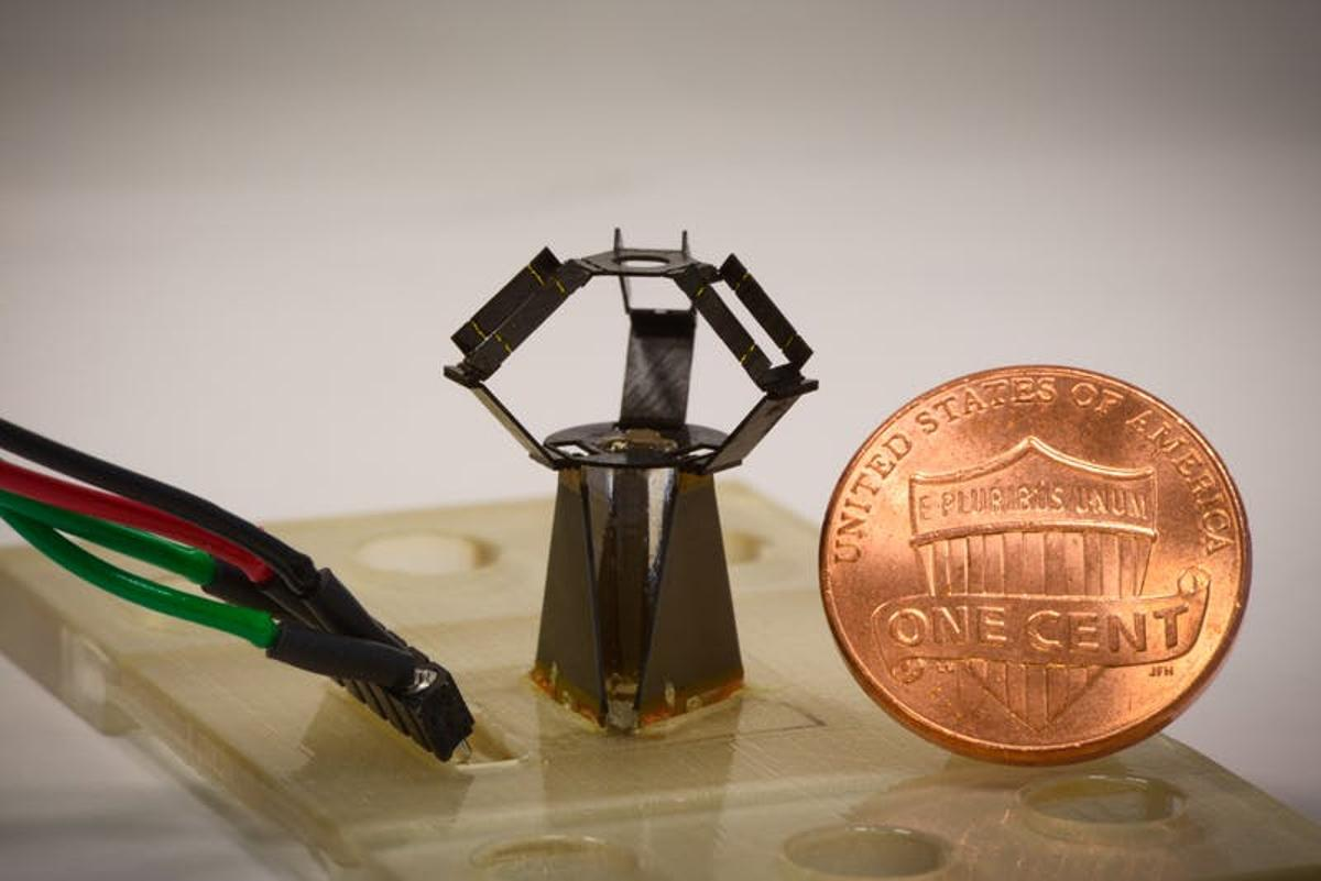 The MilliDelta is a tiny robotic arm that could be used for micro-scale picking, packing, manufacturing and even surgery