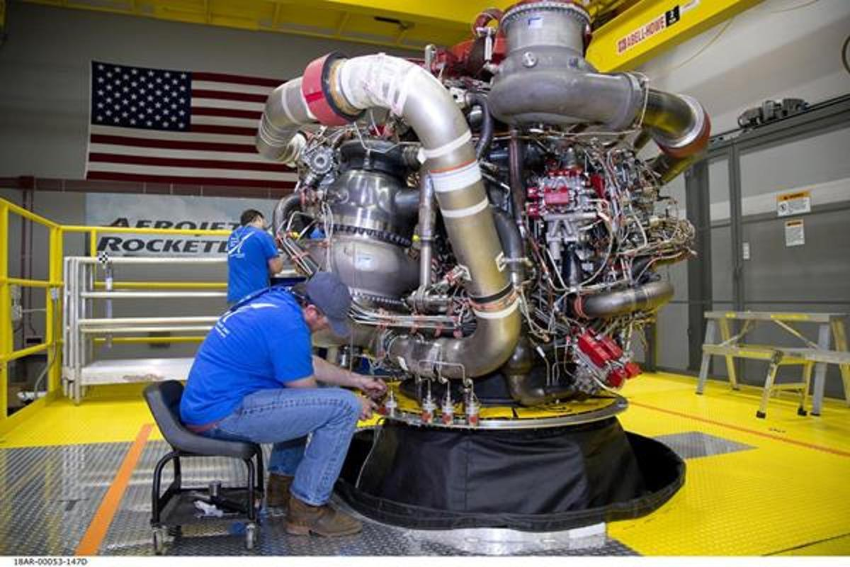 Aerojet Rocketdyne has completed assembly of its first AR-22 rocket engine, shown at its facility located at Stennis Space Center