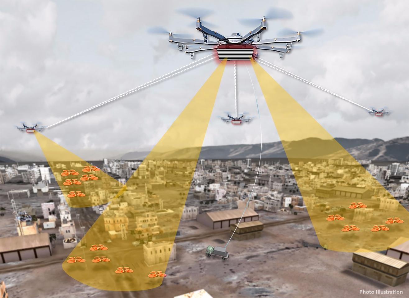 Artist's concept shows elements of a notional Aerial Dragnet system – several UAS carrying sensors form a network that provides wide-area surveillance of all low-flying UAS in an urban setting