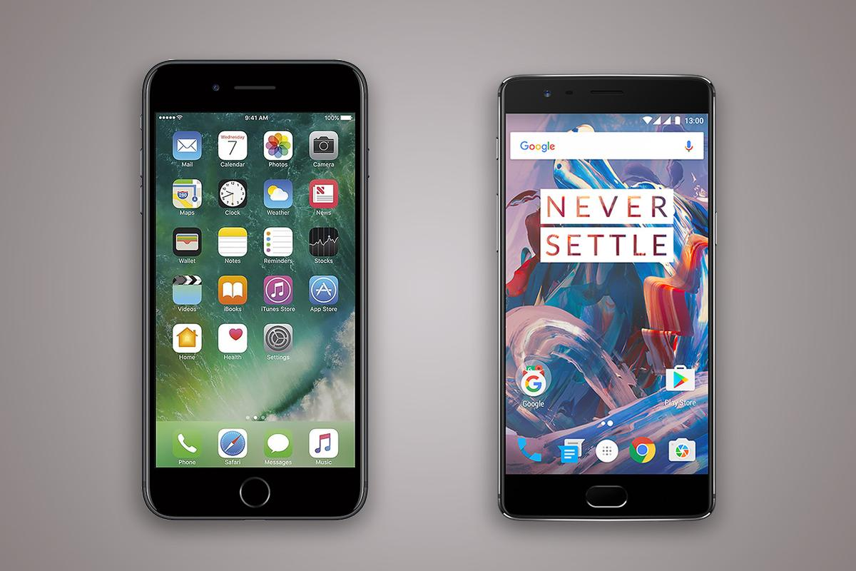 New Atlas compares the features and specs of the new iPhone 7 Plus (left) and OnePlus 3