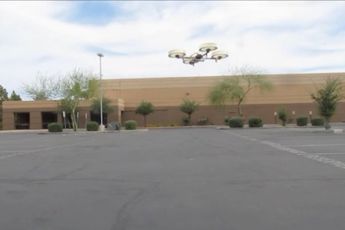 The prototype Whisper Drone in flight