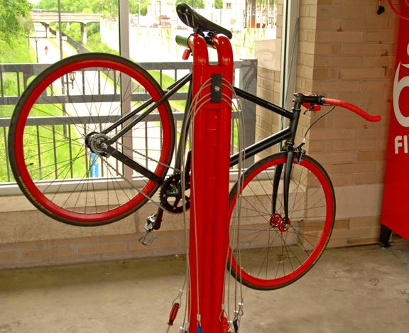 A bike mounted on the Bike Fixtation repair stand awaiting some emergency attention