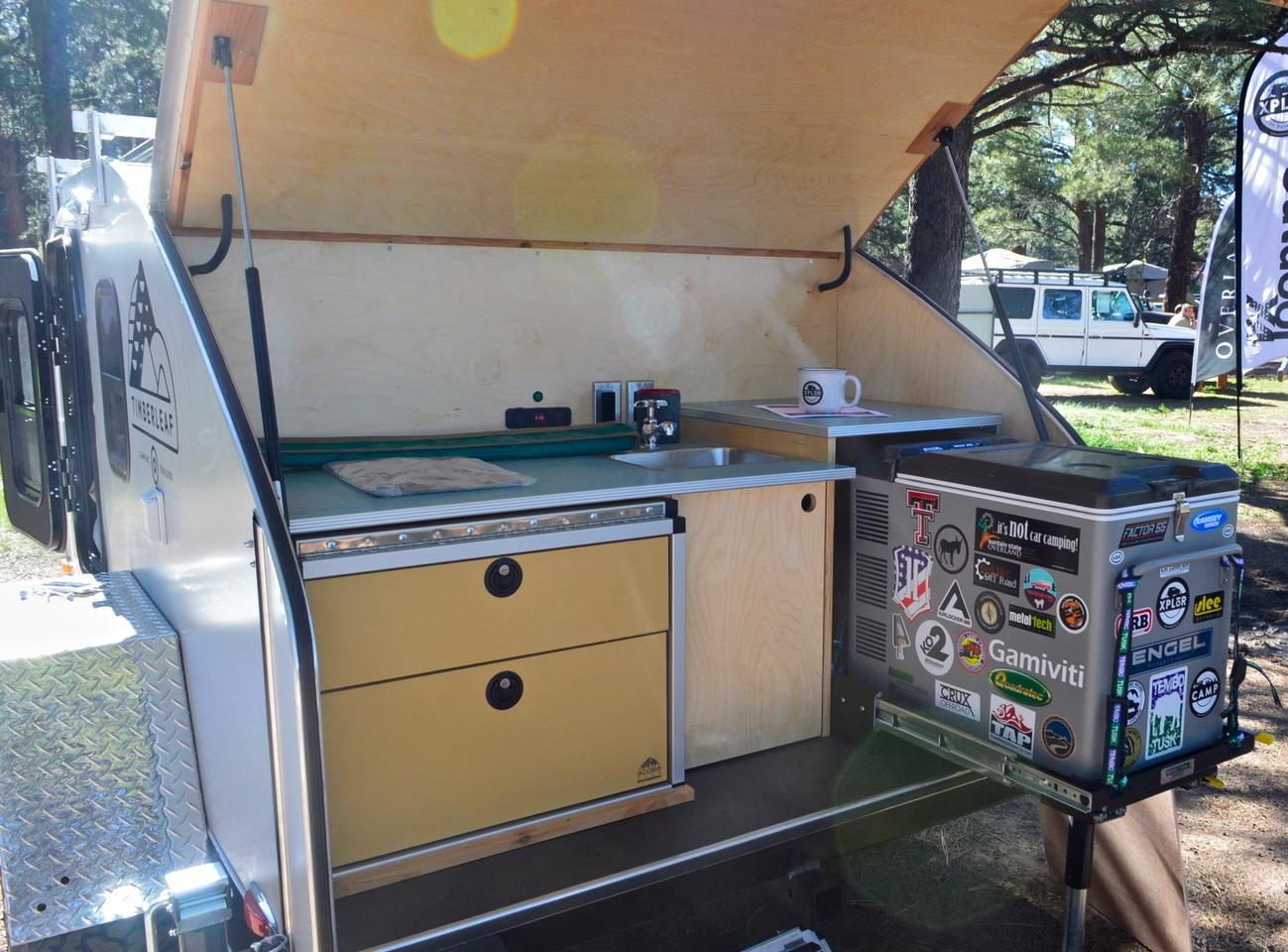 This Timberleaf trailer has a refrigerator instead of the wood cooler