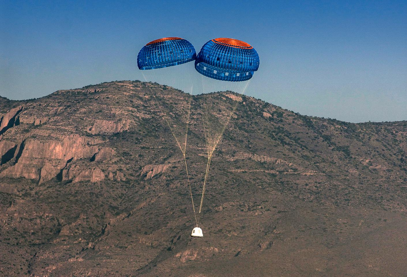 The New Sheperd crew capsule lands safely (Photo: Blue Origin)