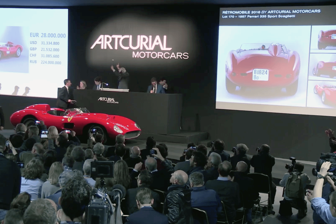 The star of the Retromobile auctions was undoubtedly this 1957 Ferrari 335 S Spider Scaglietti, which was estimated to sell for between €28 million and €32 million (US$30.5 million to $34.8 million) and sold for $35.7 million