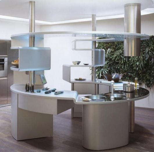 Acropolis is the concentric kitchen, designed to be in the centre of the room to meet the needs of the man who wants to have everything around him
