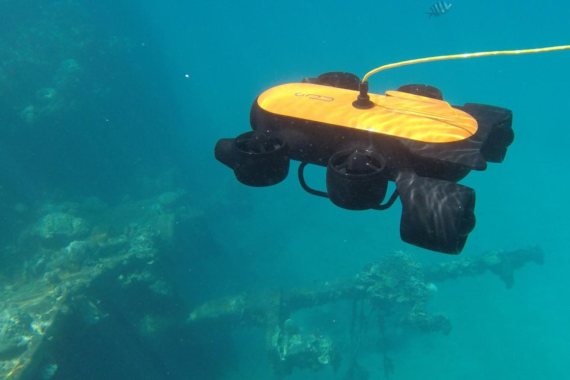 The Titan underwater drone weighs 9.7 lb (4.4 kg)