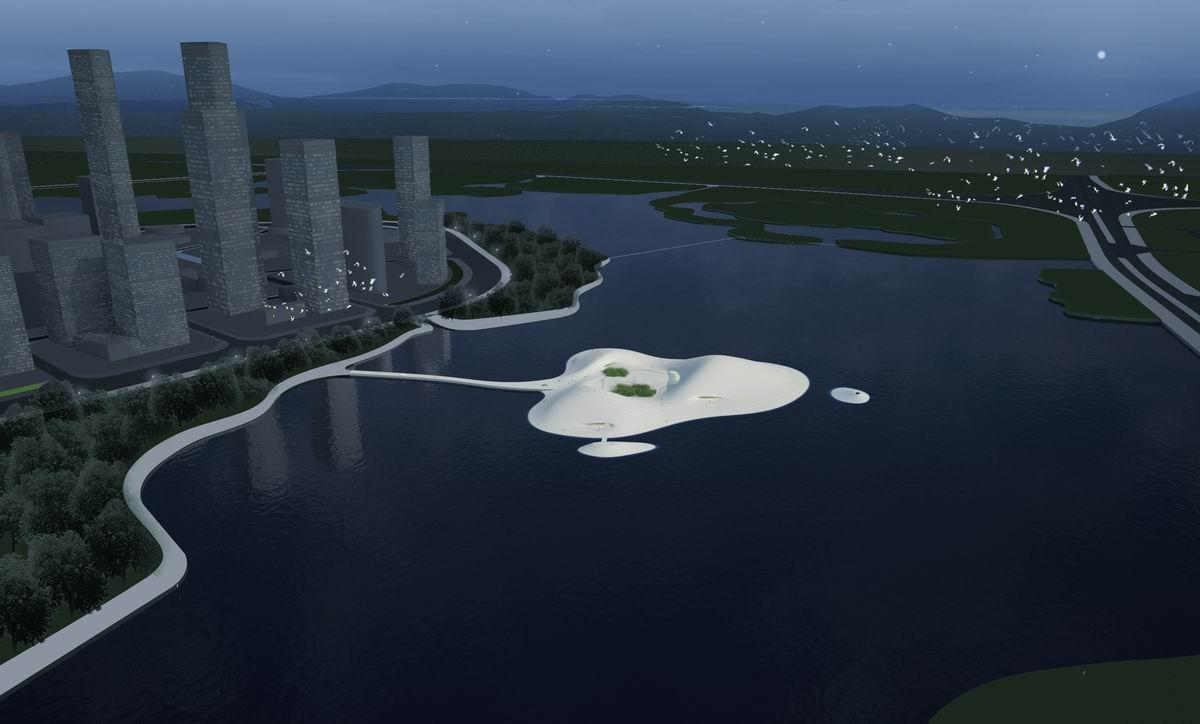 The Pingtan Art Museum is a center piece of a new city