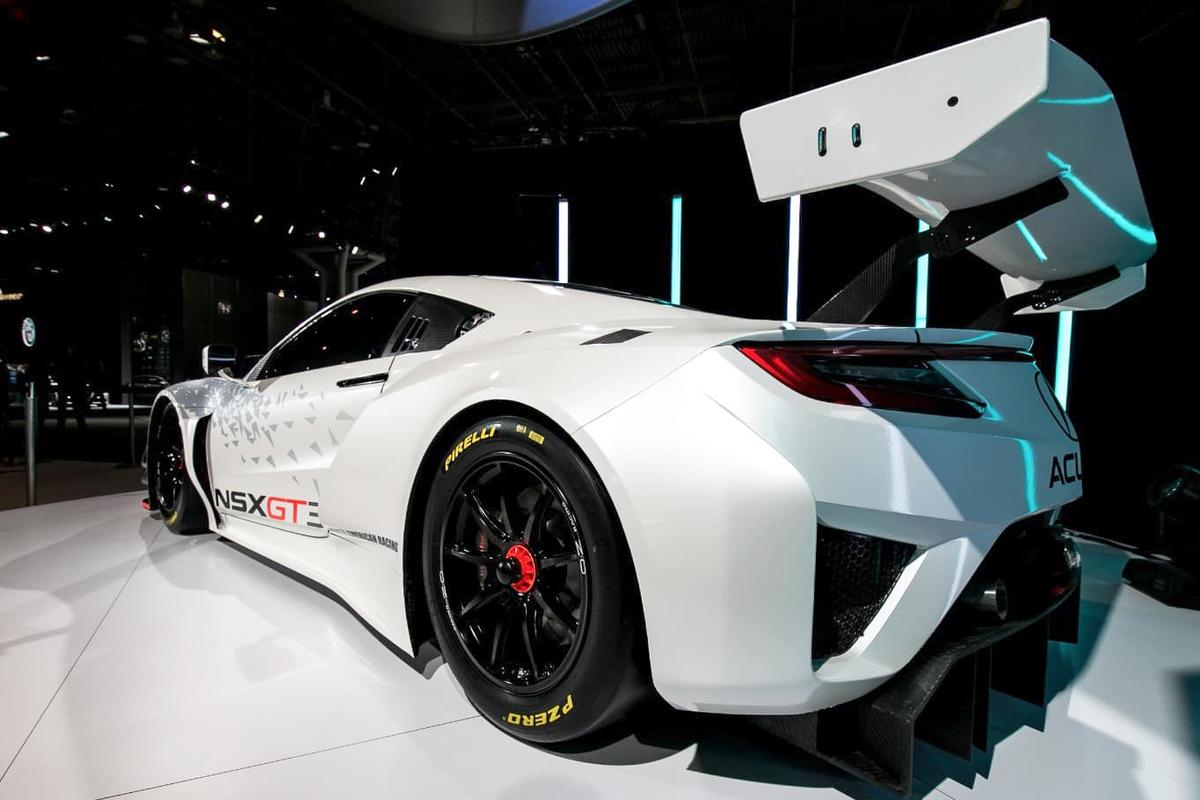 The NSX GT3 has a huge rear wing to create the downforce necessary for GT3 racing