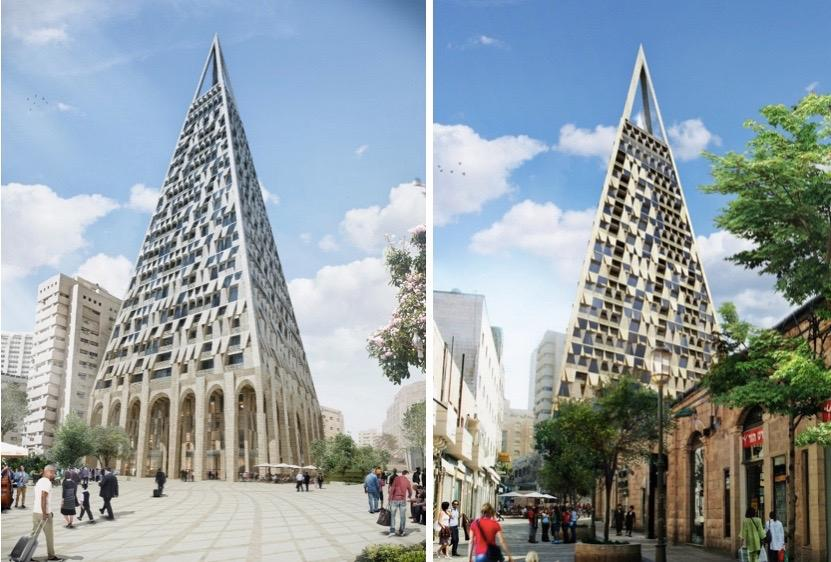Two views of the planned new tower