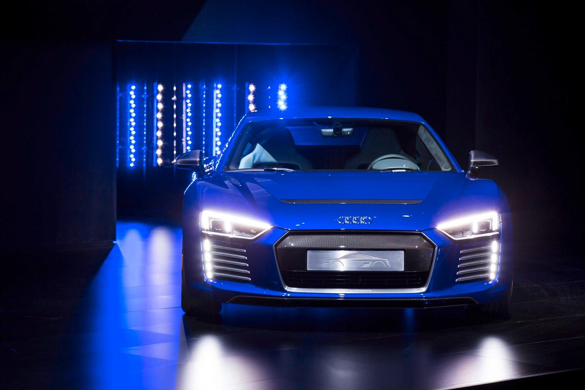 The R8 e-tron piloted driving concept makes a debut at the CES Asia show