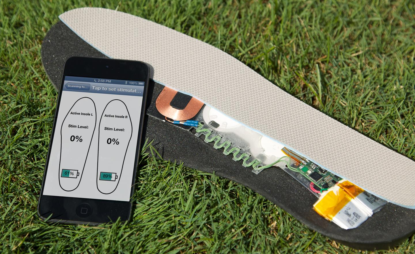 The insoles use vibrations to help their wearers detect tactile stimuli in the soles of their feet (Photo: Harvard's Wyss Institute)