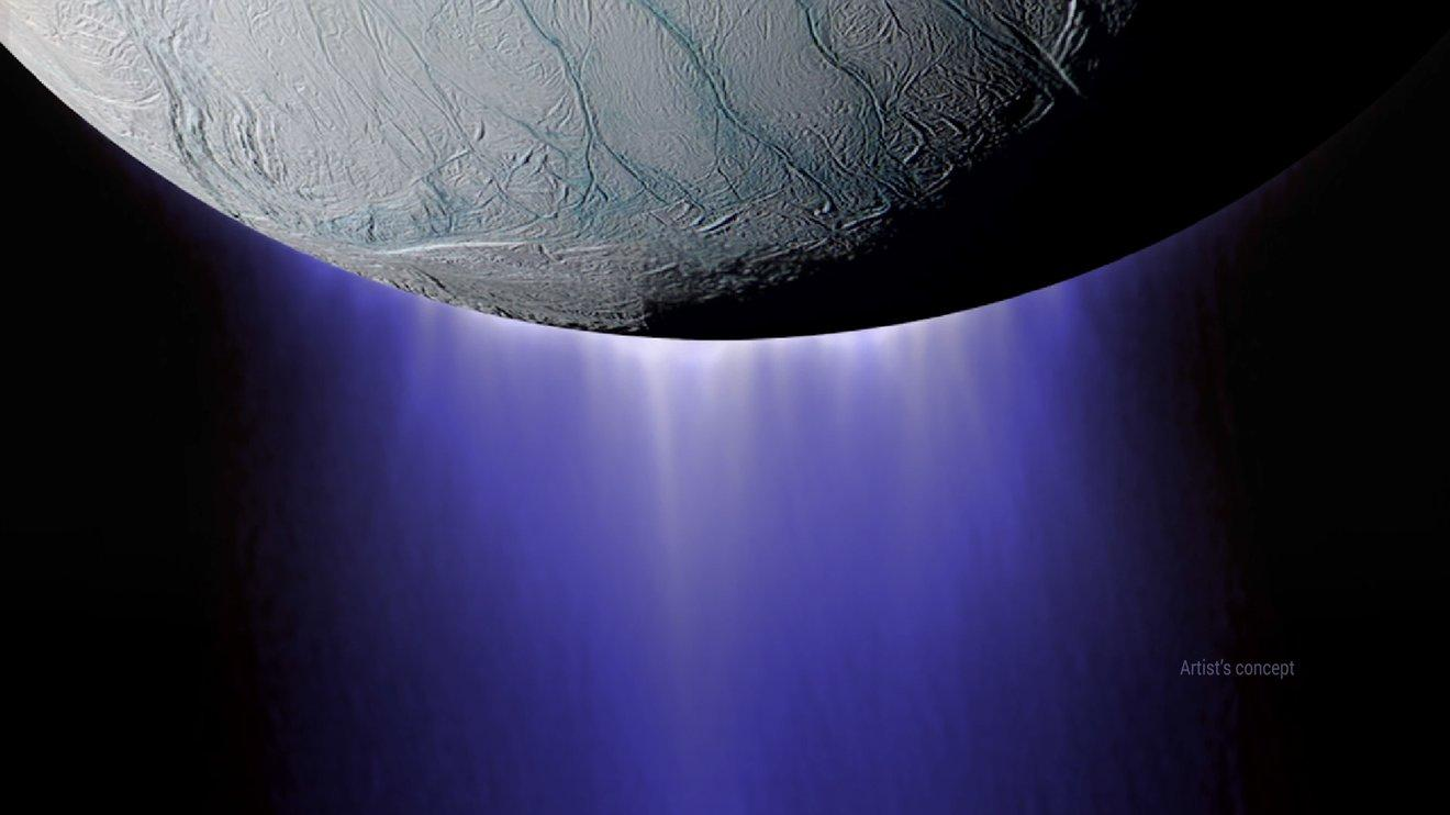 An artist's illustration of plumes of water erupting through the icy shell of Saturn's moon Enceladus