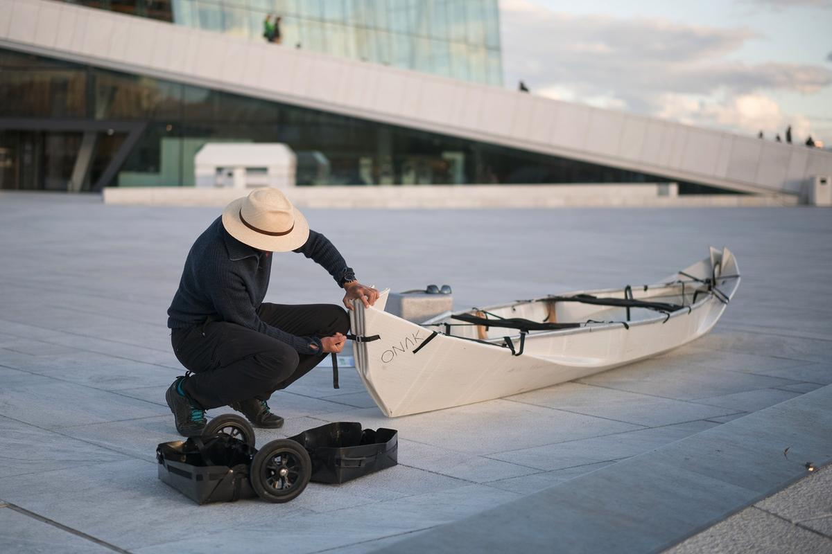 The Onak transforms from roller case to canoe