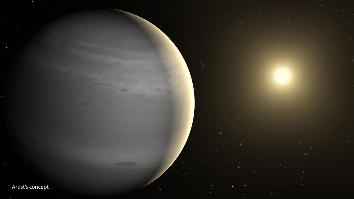 Artist's impression of an exoplanet with a helium-rich atmosphere