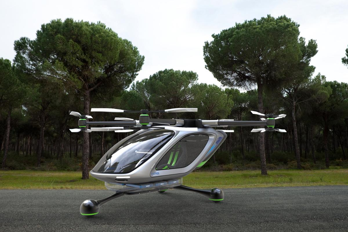 Computer render ofJetpack Aviation's electric VTOL concept, which isexpected to have an initial 20-minute flight endurance, which will be extended either using a small generator, or as battery technology develops