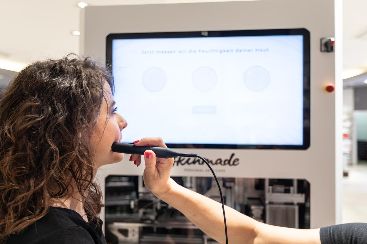 Skinmade kiosks are assisted by store employees