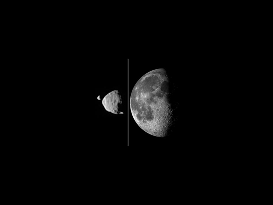 Comparison of the Moon as soon from Earth (right), and Phobos and Deimos as seen from the surface of Mars by NASA's Curiosity rover in 2013